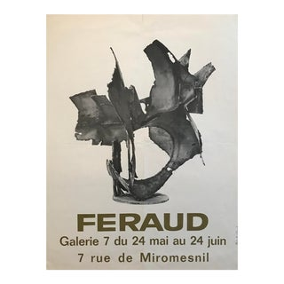 1960's Vintage French Exhibition Poster, Feraud For Sale