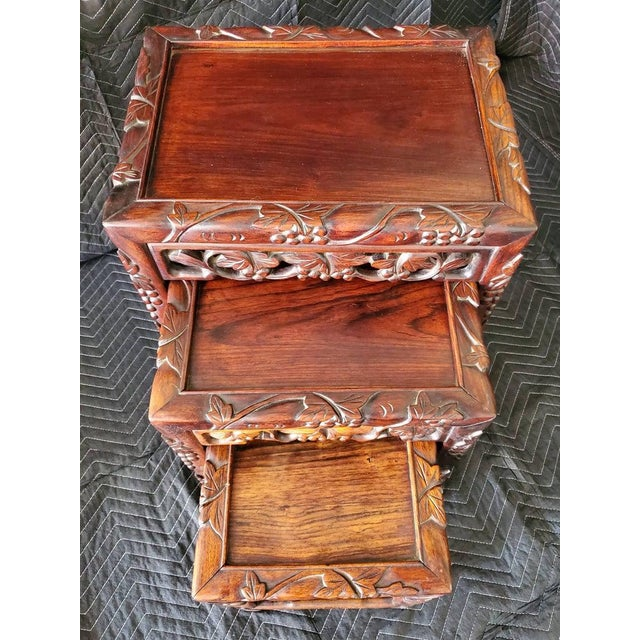 Art Nouveau Antique Chinese Carved Nesting Tables - Set of 3 For Sale - Image 3 of 11