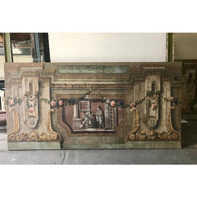 Late 18th Century Rare Set of Four Italian 18th Century Panels, Gouache on Canvas For Sale - Image 5 of 11