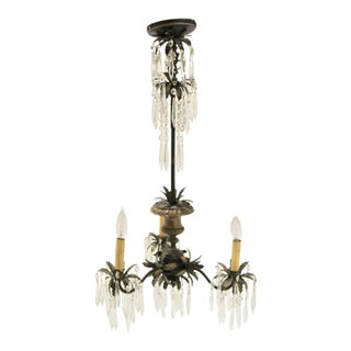 Midcentury Italian Crystal Chandelier For Sale