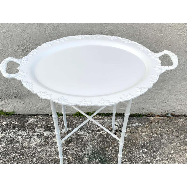 Late 20th Century Faux Bamboo and Grape Motif White Enameled Tray Table, Provenance Celine Dion - a Pair For Sale - Image 5 of 10