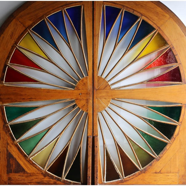 Monumental Stained Glass Sliding Doors Circa 1970 - a Pair For Sale - Image 11 of 13