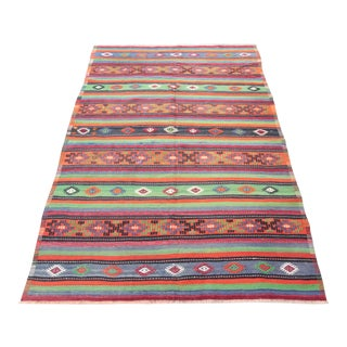 Stripe Design Turkish HandWoven Kilim Rug - 9' 8'' x 5' 3''