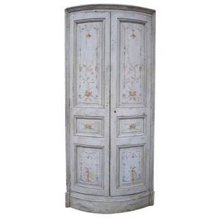 Early 19th Century Antique French Painted Corner Cabinet For Sale