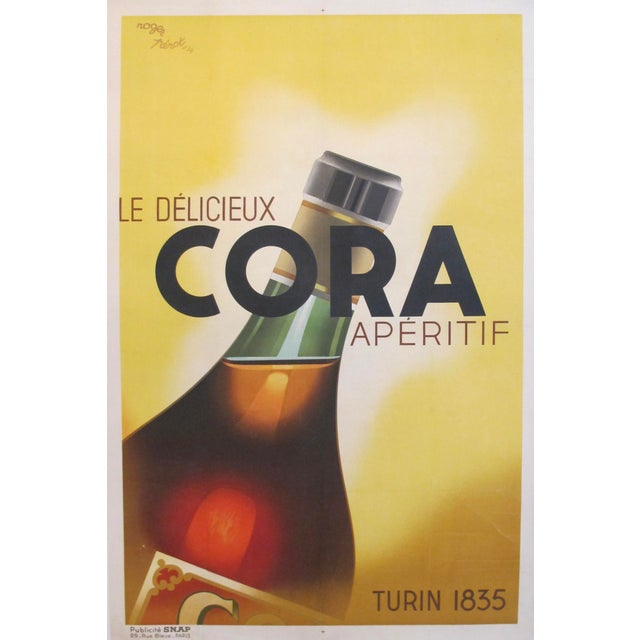 Green Original 1934 French Art Deco Poster, Cora Apertif For Sale - Image 8 of 8