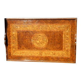 19th C. Inlayed Marquetry English Butler Tray For Sale