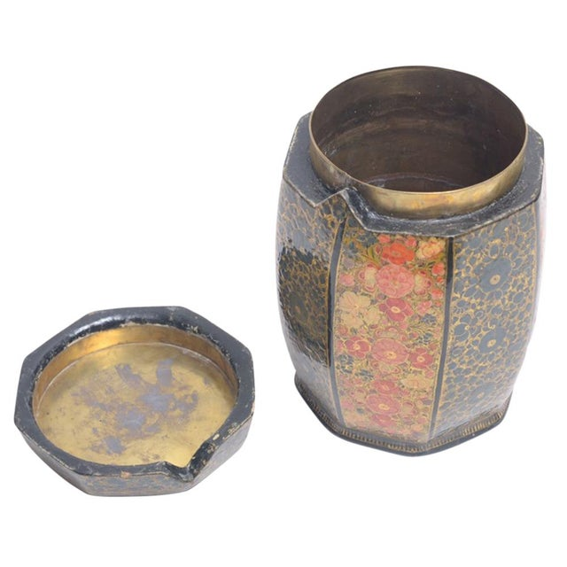 Boho Chic Floral Motif Hand Painted Tea Canister For Sale - Image 3 of 8