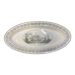 Early 19th Century Creil Creamware Oval Fish Platter For Sale
