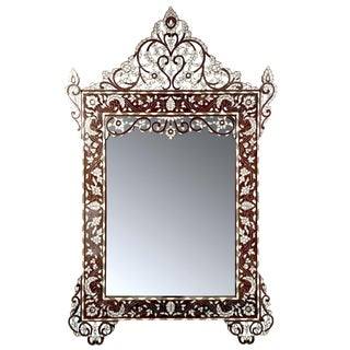 Moroccan Style Mother of Pearl Inlay Mirror For Sale