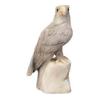 19th Century French Carved Grey and White Marble Eagle For Sale