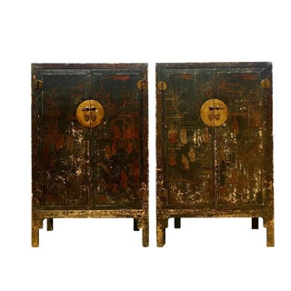 19th Century Chinese Hand Painted Wood Cabinets - a Pair