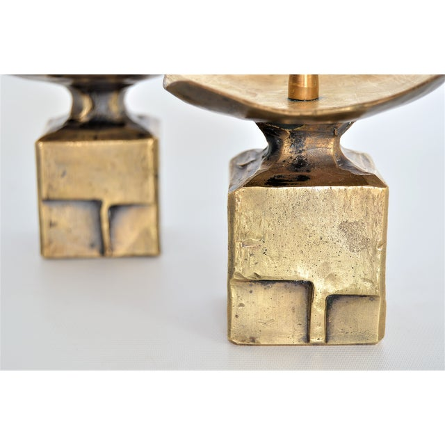 Weiland Basel Switzerland Brutalist Brass Candle Holders - a Pair- Mid Century Scandinavian Modern Candlesticks Millennial - Image 8 of 11