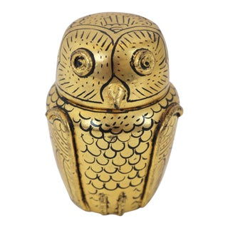 Gold Lacquered Owl Box For Sale