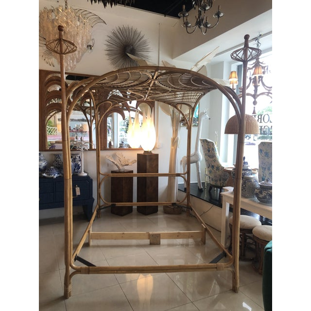 Vintage Tropical Boho Palm Beach Rattan Queen Size Canopy Bed For Sale - Image 9 of 13