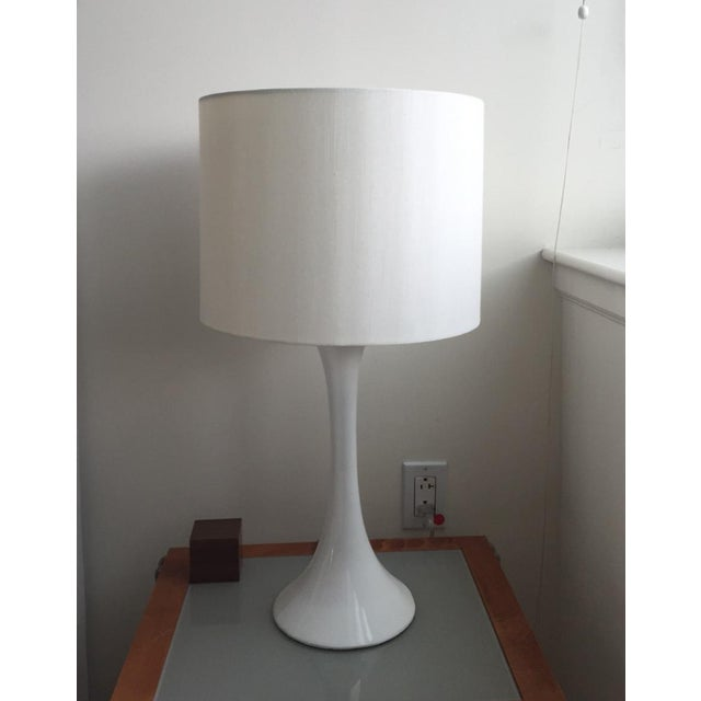 "ada II white table lamp. 13""Wx13""Dx25.5""H PE base with white lacquer finish 100% linen shade Clear cord On-off switch 23W..."