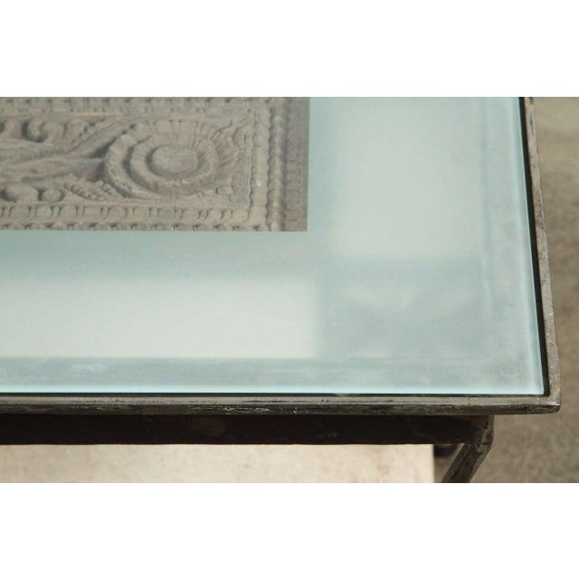 Glass Asian Architectural Relief Made Into a Coffee Table For Sale - Image 7 of 9