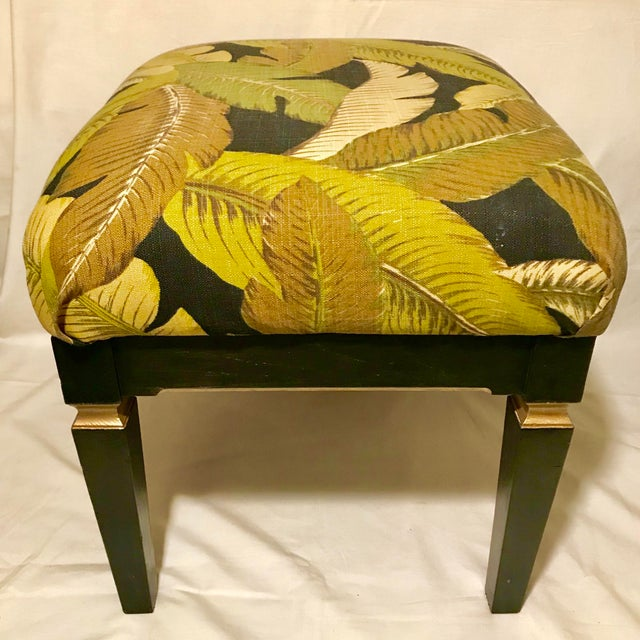 Neoclassical style bench in updated Tommy Bahama banana palm print linen fabric and newly refinished painted black and...