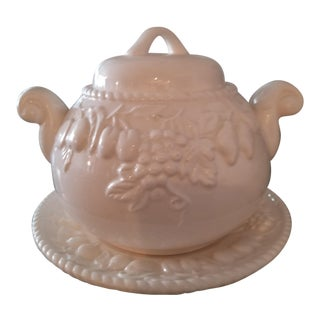 Last Call. Delisting White Italian Stoneware Embossed Fruit Soup Tureen For Sale