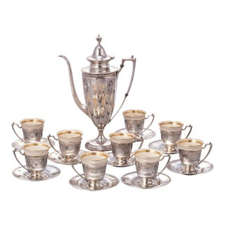 Coffee Demitasse Set, Sterling Silver For Sale