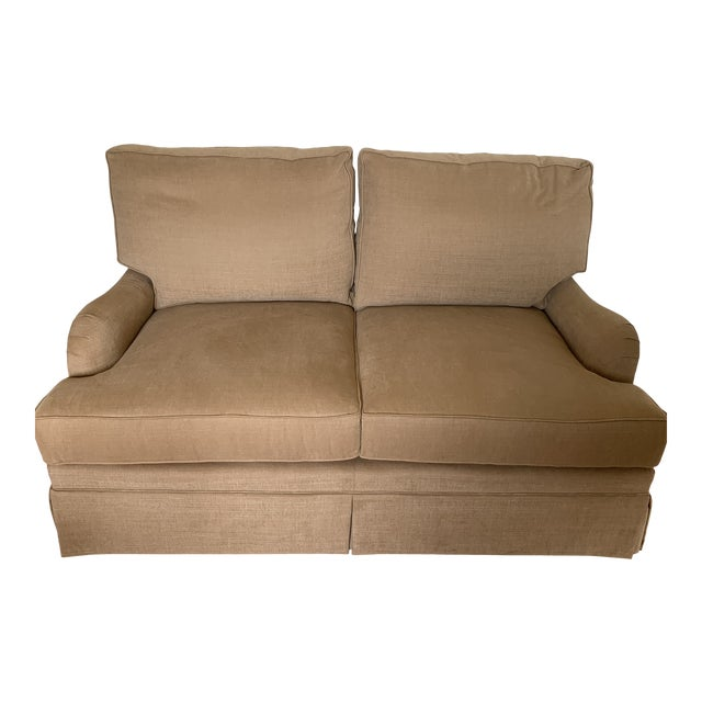 Loveseat Custom With Bridge Water Arm, Turned Legs on Casters. For Sale