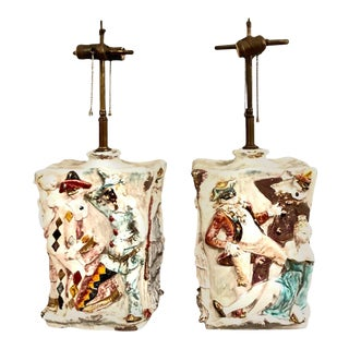 """Mid 20th Century Eugenio Pattarino """"Venetian Carnival"""" Lamps - A Pair For Sale"""