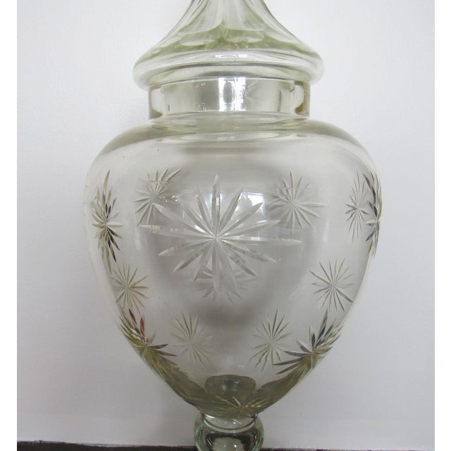 """French Pair 30"""" Tall Cut Crystal Glass Lidded Apothecary Jars For Sale - Image 3 of 11"""