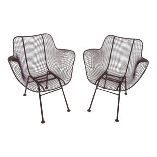 Russell Woodard Mid-Century Modern Wrought Iron & Mesh Chairs - A Pair For Sale