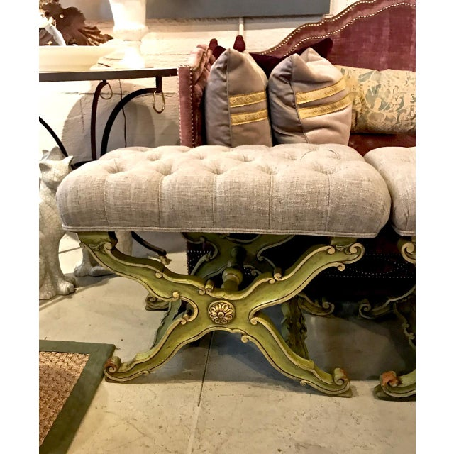 This is an unusual pair of c. 1960s Glam Karges benches in a funky Hollywood Regency/Neoclassical style. The benches have...