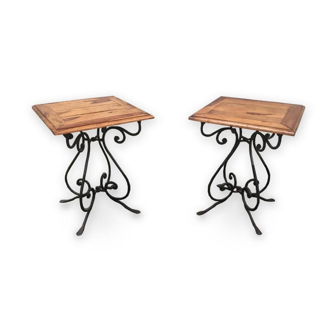 Rustic French Bistro Walnut SideTables With Iron Bases - a Pair For Sale - Image 12 of 12