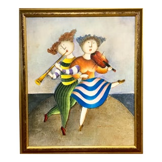 Acrylic Painting on Canvas of Musicians by Joyce Roybal For Sale