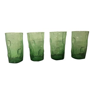 1950s Traditional Hand Blown Green Glass Cups - Set of 4 For Sale