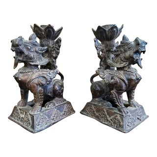 Late 19th Century Tibetan Bronze Snow Lion Temple Foo Dogs Candlesticks - a Pair For Sale