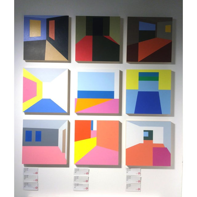 "2010s Martha Hughes ""Scene 149"" , Geometric, Interior Space, Acrylic , Painting , Yellow, Purple, Red, Pink, Blue For Sale - Image 5 of 7"