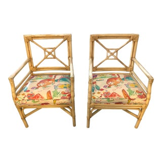 Vintage Rattan Armchairs by La Cor Wicker - a Pair For Sale