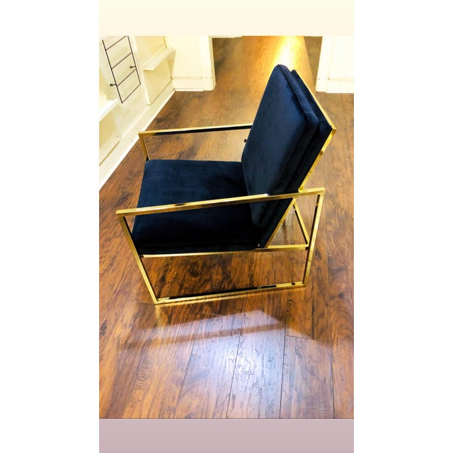 Contemporary Vintage Mid Century Velvet Accent Chair For Sale - Image 3 of 9