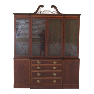 1990s Vintage Baker Inlaid Mahogany 4 Door English Style Breakfront For Sale