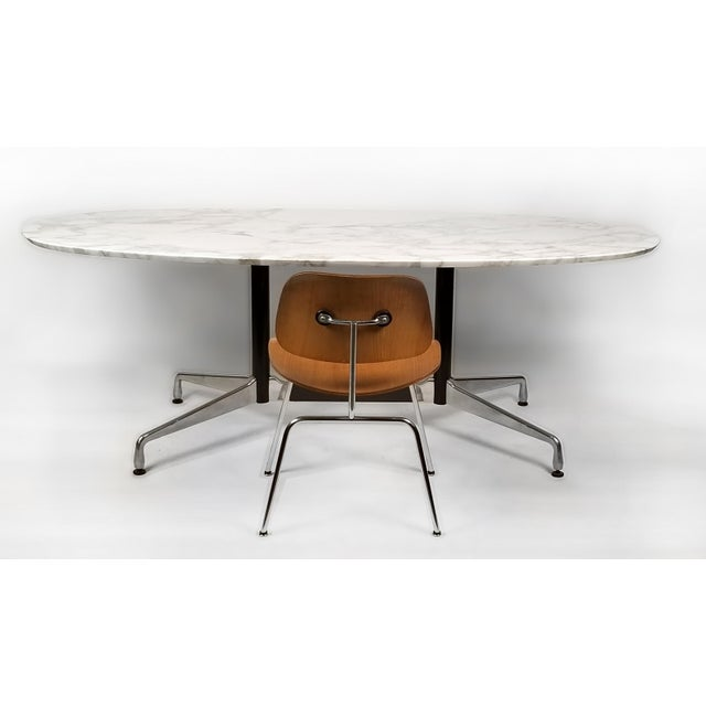 1960s Charles Eames for Herman Miller Aluminum Group table desk with Beveled Calacatta marble top. No chips. Beautiful...