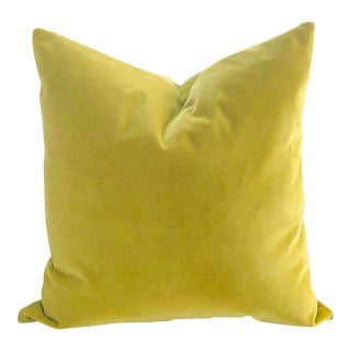 "Chartreuse Velvet 22"" Feather Down Pillow For Sale"