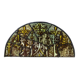 Victorian Style Half Round Stained Glass Window