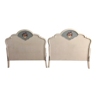 French Provincial Twin Headboards With Handpainted Floral Detail- a Pair