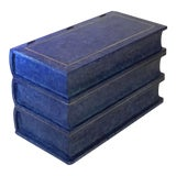 Image of Maitland-Smith Tessellated Blue Stone Brass Trim Stacked Books End Table For Sale