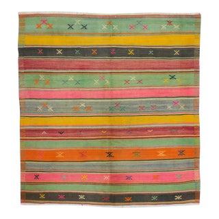 1960s Vintage Turkish Striped Kilim Rug - 5′7″ × 6′ For Sale