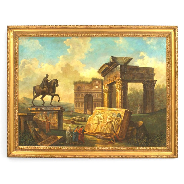 Italian Neo-classic Hubert Robert style (20th Cent) landscape oil painting with figures and an equestrian statue of Marcus...