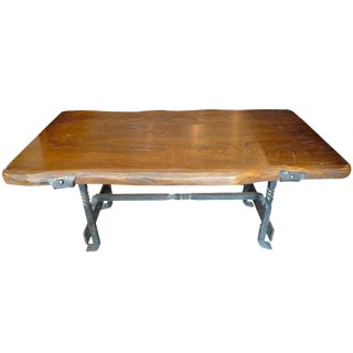 1960's French Small Walnut Coffee Table With Wrought Iron Legs For Sale