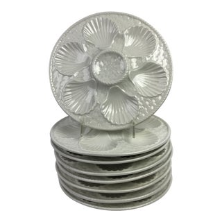 French White Oyster Plates, S/8 For Sale