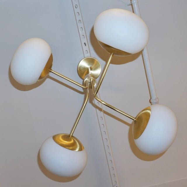 White Contemporary Italian Modern Satin Brass & 4 White Murano Glass Globe Chandelier For Sale - Image 8 of 13