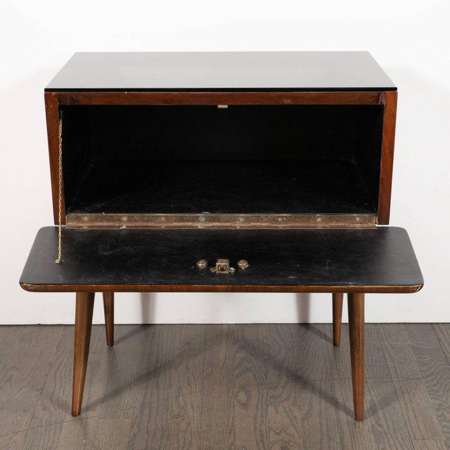 1950s Pair of Mid-Century Italian Nightstands/End Tables in Exotic Bookmatched Wood For Sale - Image 5 of 12