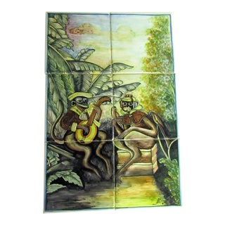 Tropical Monkey Scene, 6 Tile Set Unmounted For Sale