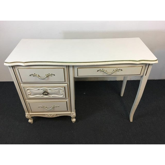 French Provincial Vintage Shabby Chic White & Gold Hand Painted Wood Desk For Sale - Image 3 of 6