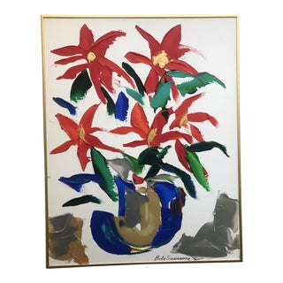 1980s Barbara De Sassure Floral Still Life Painting For Sale